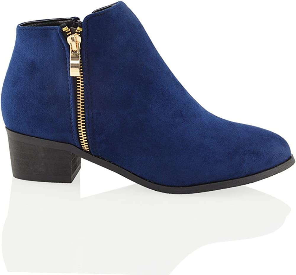 ESSEX GLAM Special price for a limited time Womens Ankle Boots Low Winter Wester Biker Block Our shop OFFers the best service Heel