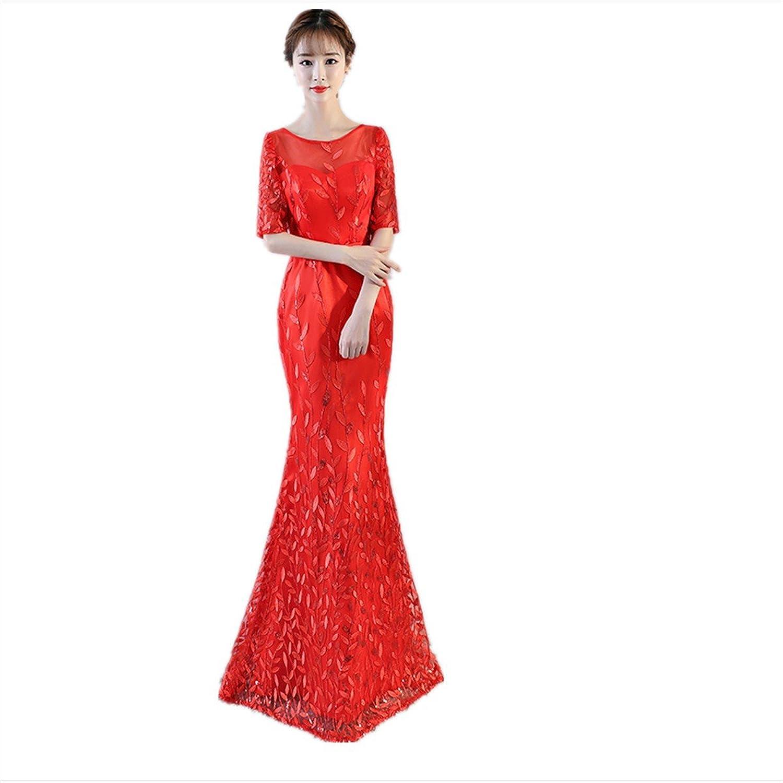 JKJHAH Brautkleid Fischschwanz Kleid Kleid Kleid Rotes Kleid B07DPFSM1B  Hervorragende Eigenschaften 66b86d