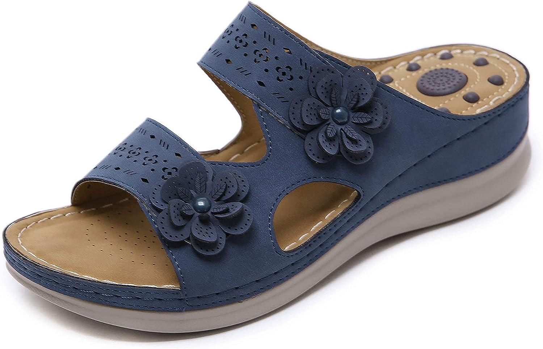 SaraIris Women's Wedge Sandals Summer Open Toe Slip-on Flat Platform Sandals Slides Comfy Outdoor Beach Slipper