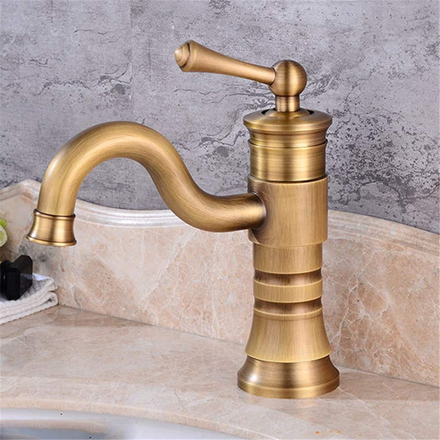 YAWEDA Retro Copper gold Silver Ancient Short Bathroom Tank Kitchen Tap Tank Single Hole Single Hand Cold and Hot Water Mixer Single Connection,Antique Short Money