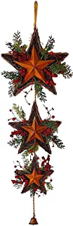 3 Star Wreath Christmas Holiday Decoration Twigs Red Berries Rustic Metal W Jingle Bell Wall Door Decor (39
