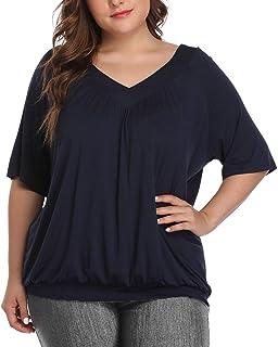 andy & natalie Women Plus Size Pleated Tops XL 2XL 3XL 4XL T Shirt Elbow Sleeve Deep V Neck