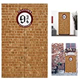 U&X Round Sign Platform 9 And 3/4 King's Cross Station Brown Brick Wall Party Backdrop,Secret Passage To The Magic School Decorative Door Curtain for Wizard Party Decor