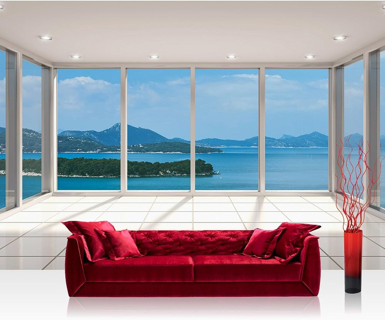 Vlies Fototapete 416x254cm PREMIUM PLUS Wand Foto Tapete Wand Bild Vliestapete - Wellness Tapete Meer Insel Fenster Fliesen weiß - no. 2293 B01M6754KB