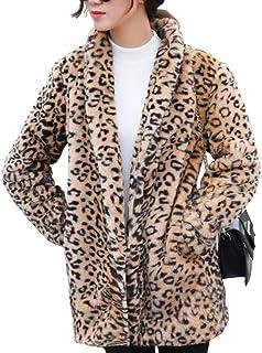 معطف كلاسيكي سيتي للنساء من الفهد، معطف طويل الأكمام مثير طية صدر السترة الشتاء الدافئ باركا جاكيت