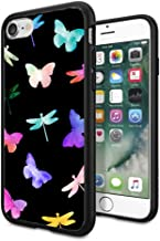 Matcase for iPhone 7 Case iPhone 8 Case - Butterflies Watercolor Dragonflies Hard Clear Transparent Anti Scratch Resistance with Full Protection TPU Bumper Designer Case