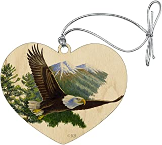 GRAPHICS & MORE Bald Eagle Flying Over The Mountains Scenic Heart Love Wood Christmas Tree Holiday Ornament