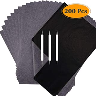 Selizo 200 Sheets Tracing Paper and Carbon Paper Black Graphite Transfer Paper with Tracing Stylus for Wood Burning Transfer, Wood Carving and Tracing
