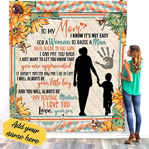 Affordable VTH Global Personalized Custom Son Name to My Mom Not Easy to Raise A Man Mothers Day Qui...
