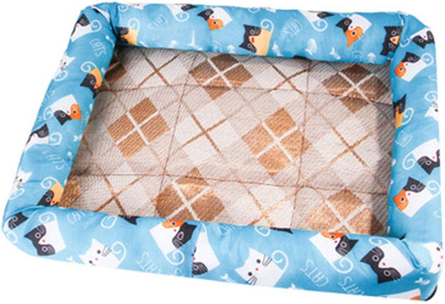 5 colors Pet Kennel, Cat Litter Ice Silk Mat Teddy Summer Cat and Dog Bed Pet Supplies Non Slip Breathable,E,S
