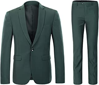 Mens 2 Piece Suits One Button Formal Slim Fit Solid Color Wedding Tuxedo