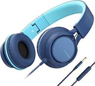 AILIHEN C8 (Upgraded) Headphones with Microphone and Volume Control Folding Lightweight Headset for Cellphones Tablets Smartphones Laptop Computer PC Mp3/4 (Indigo)