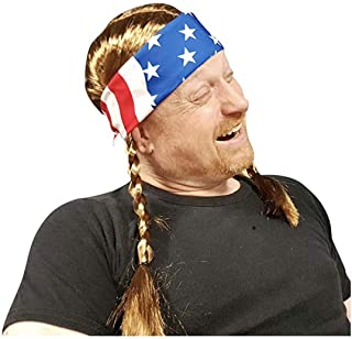 Willie Braided Wig with USA Bandana - Hillbilly Country Red Neck Cowboy Costume