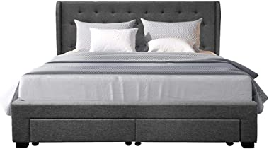Luxo Upholstered Fabric Winged Bed Frame with Storage Drawers King Dark Grey