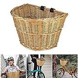 SUNASQ Cesta de mimbre en forma de D para bicicleta, cesta de la compra portátil, cesta de verduras, protección del medio ambiente