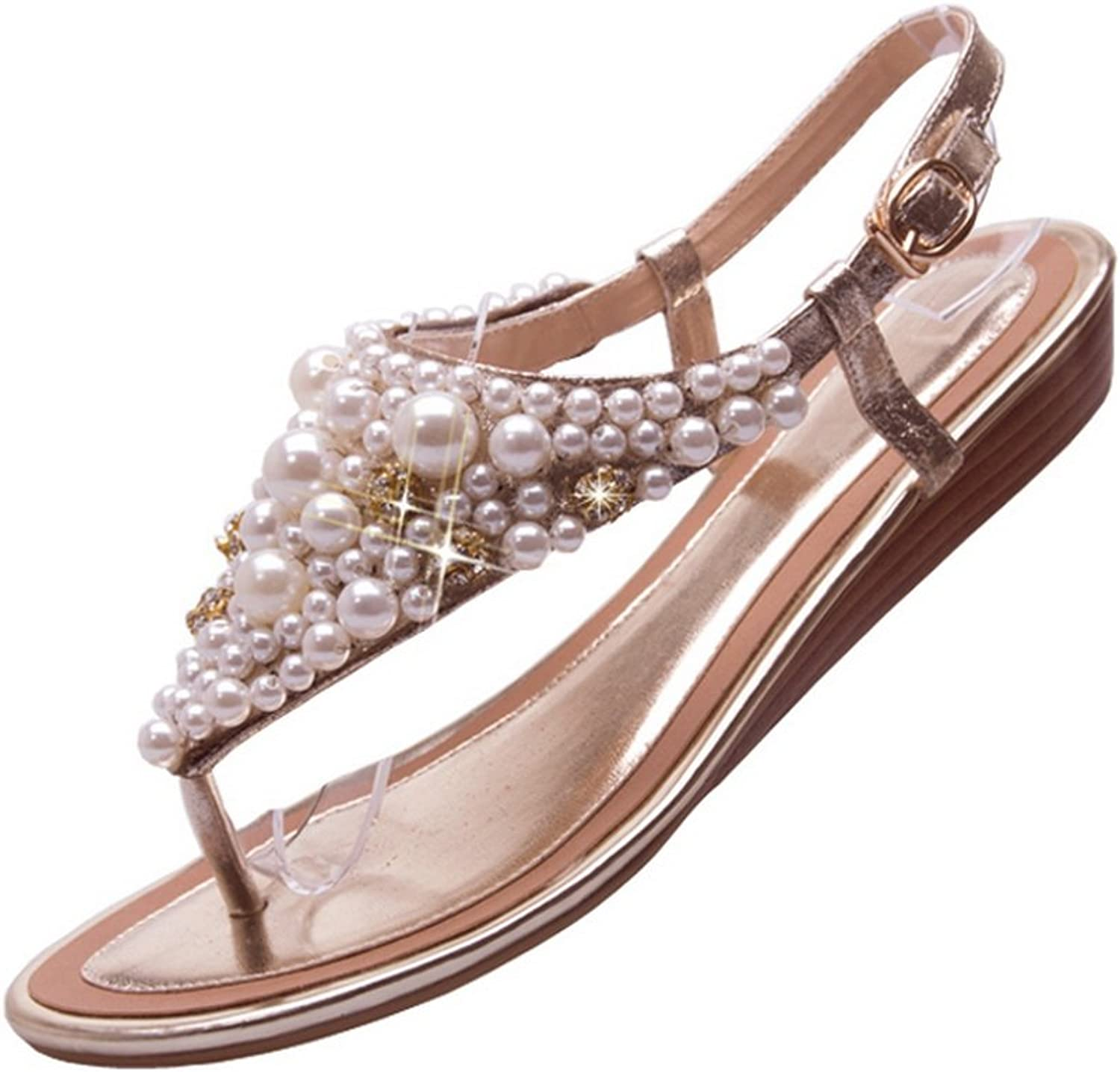 1TO9 Ladies Bead Toepost Style gold Soft Material Sandals - 7.5 B(M) US