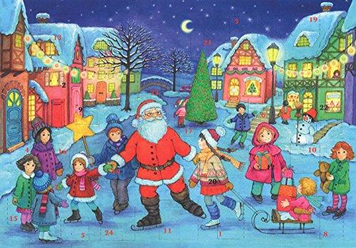 Tradicional de Papá Noel de Papá Noel Tarjeta calendario de adviento, A4, con sobre de...