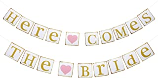 Here Comes the Bride Banner, Vintage Colorful Garland for Anniversary/Wedding/Engagedment/Birthday Party, Retro Favor