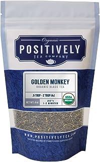 Positively Tea Company, Organic Golden Monkey, Black Tea, Loose Leaf, 4 Ounce Bag