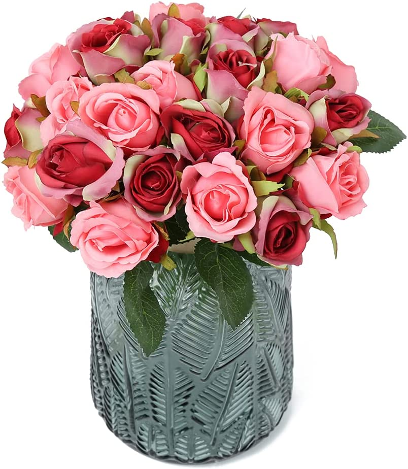 Artificial Rose Flowers,24 Heads Silk Flowers Rose Bouquet for Home Bridal Wedding Party Arrangements Festival Decor (Red with Pink)