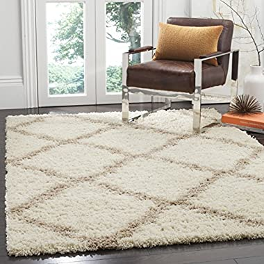 Safavieh Dallas Shag Collection SGD257B Ivory and Beige Area Rug (5'1  x 7'6 )