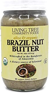 Sponsored Ad - Living Tree Alive & Raw Organic Brazil Nut Butter, Nut Butter Made in Small Batches & Always Fresh - 16 Oun...