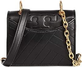 Tory Burch Womens Alexa Micro Mini Leather Crossbody Bag, Black