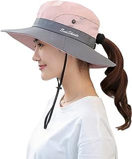 BOGIWELL قبعة حريمي للصيد في الهواء الطلق حماية من الأشعة فوق البنفسجية قابلة للطي ذات حافة واسعة
