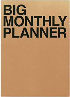 JSTORY Big Monthly Planner Stitch Bound Lays Flat Undated Year Round Flexible Cover Goal/Time Organizer Thick Paper Eco Friendly Customizable A3 16 Months 18 Sheets Brown