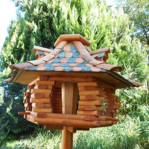 Großes Vogelhaus Futterhaus Vogelhäuschen –Wetterschutz– K22K Dunkelgrün - 3