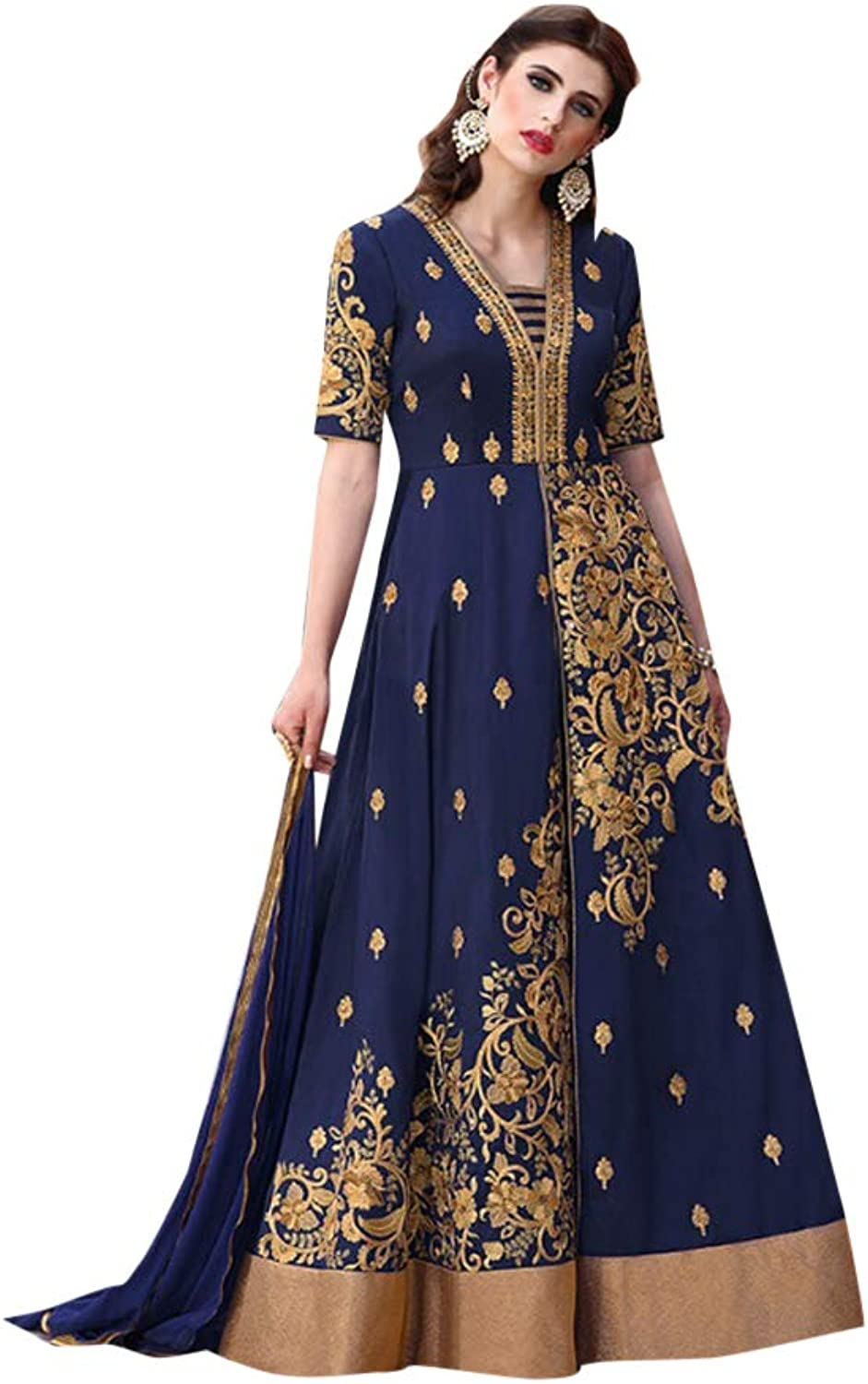 Designer Front Split Navybluee Tafeta Silk Anarkali Pant style Suit for Women Trendy Indian Party dress 7569