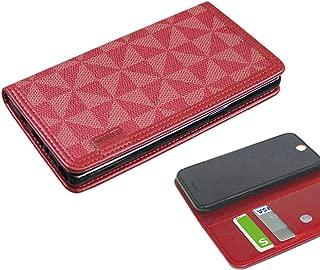 HUAWEI P20 Pro HW-01K 手帳型 ケース カードポケット 吸盤付き スマホケース ファーウェイ P20プロ HW01K ケース 手帳 カバー スリム TPU 合皮レザー ウィンドミル シンプル docomo レッド RED