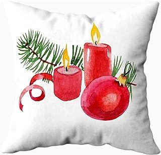 Ducan Lincoln Pillow Case 2PC 18X18,Fundas De Almohada,Fundas De Almohada Navidad Invierno Vacaciones Velas Velas En Acuarela Aislado Cerdo Año Feliz Funda De Almohada Suave