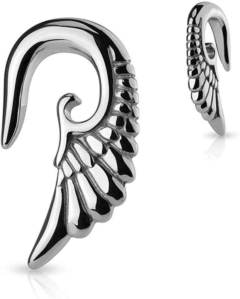 Covet Jewelry Angelic Wing Hanging 316L Surgical Steel Taper
