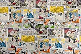 Generico Tessuto al Metro Gobelin Jacquard Comics Fumetti - Altezza 1,40 m - 1 QTA = 0,50 m lineare - per Cucire Borse, Tende, Cuscini, divani