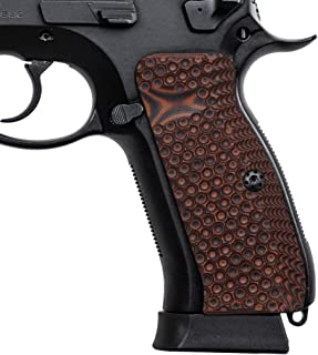 Cool Hand G10 Grips for CZ 75 Full Size, Screws Included, Palm Swell Back Style, Mag Release, Golf Ball Dimple Texture