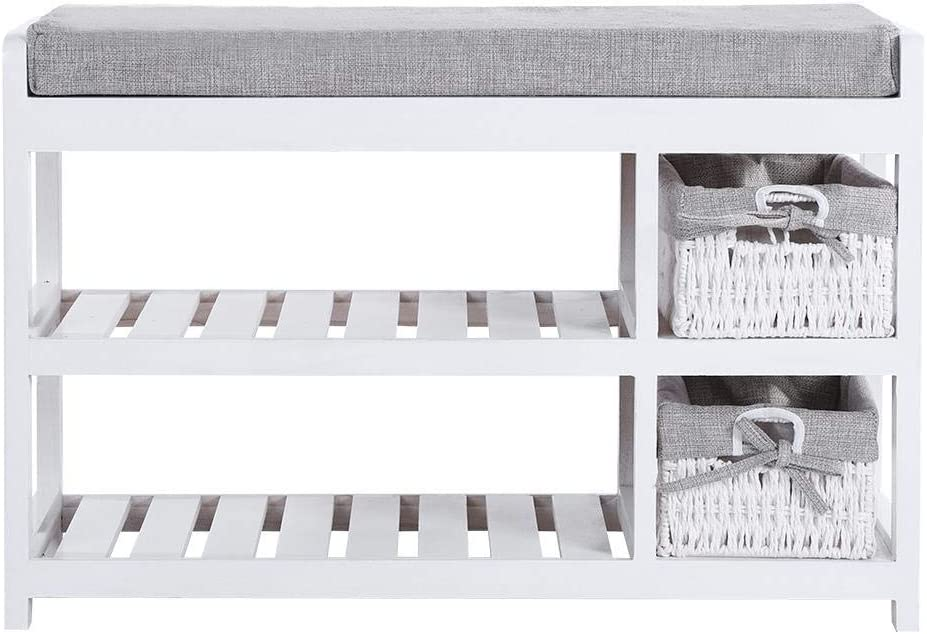 White Shoe Rack Bench 2-Layered Storage Sh Shoes Quantity limited Max 42% OFF Entryway