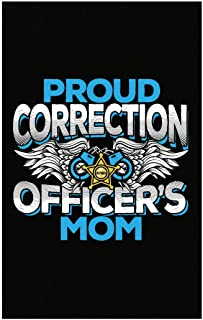 Custom Chimp Proud Correction Officers Mom with Badge Law Enforcement Family Blue Silver - Poster