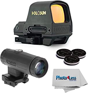 HOLOSUN HS510C MOA Open Reflex Circle Red Dot Sight + Holosun HM3X 3X Magnifier + Sony Lithium 3V Coin Batteries, Qty 3 + Cleaning Cloth