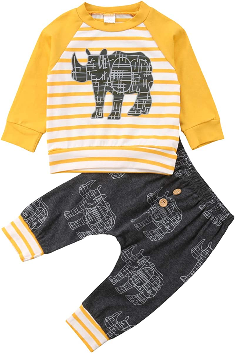 Baby Boys 2 Pieces Rhino Fall Clothing Set T-Shirt Pants Outfits