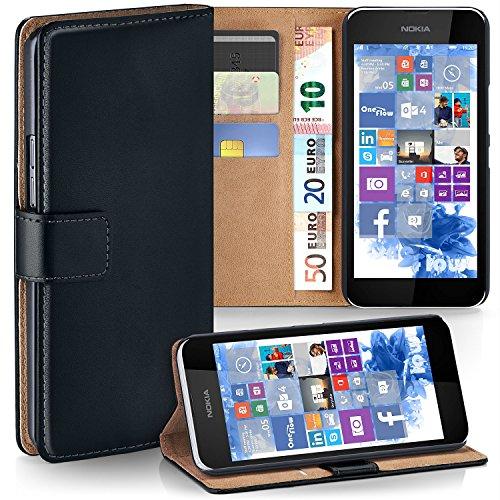 MoEx Premium Book-Hülle Handytasche kompatibel mit Nokia Lumia 530 | Handyhülle mit Kartenfach & Ständer - 360 Grad Schutz Handy Tasche, Schwarz