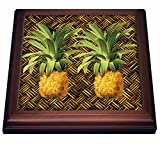 3dRose A Pair of Juicy Tropical Pineapples Botanical Illustration Trivet with Ceramic Tile, 8' x 8', Brown