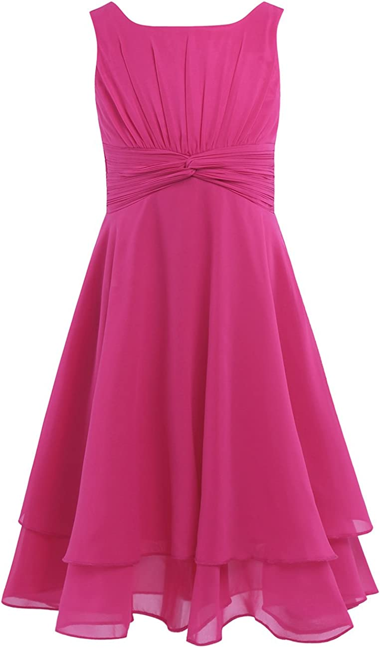 inlzdz Kids Sleeveless Knotted Waist and Ruched Flower Girls Dress Princess Birthday Party Wedding Pageant Gown