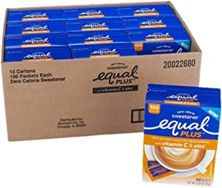 EQUAL PLUS with Vitamin C and Zinc, Zero Calorie Sweetener, Sugar Substitute, Fortified with Vitamin C and Zinc, Aspartame...
