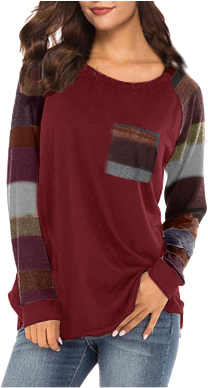 Women's Fall Lightweight Color Block Short Long Sleeve Loose Fit Pocket Tunics Shirts Tops S-2XL