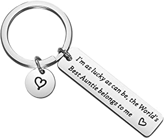 Lywjyb Birdgot Aunt Gift Auntie Gift Best Aunt Ever Keychain I'm As Luck As Can Be The World's Best Auntie Blongs to Me Gi...