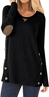 Womens Casual Loose Tunic Tops Sweatshirt Long Sleeve Blouse Scoopneck with Faux Suede Decor Buttons