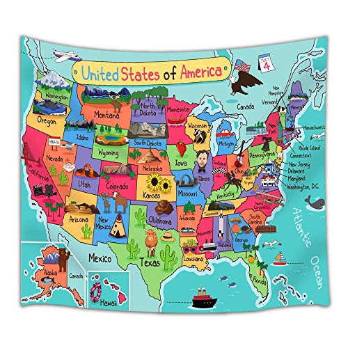 Kids Map of The United States Wall Tapestry, Cartoon Fun Facts Geography USA Map, Polyester Fabric Tapestry