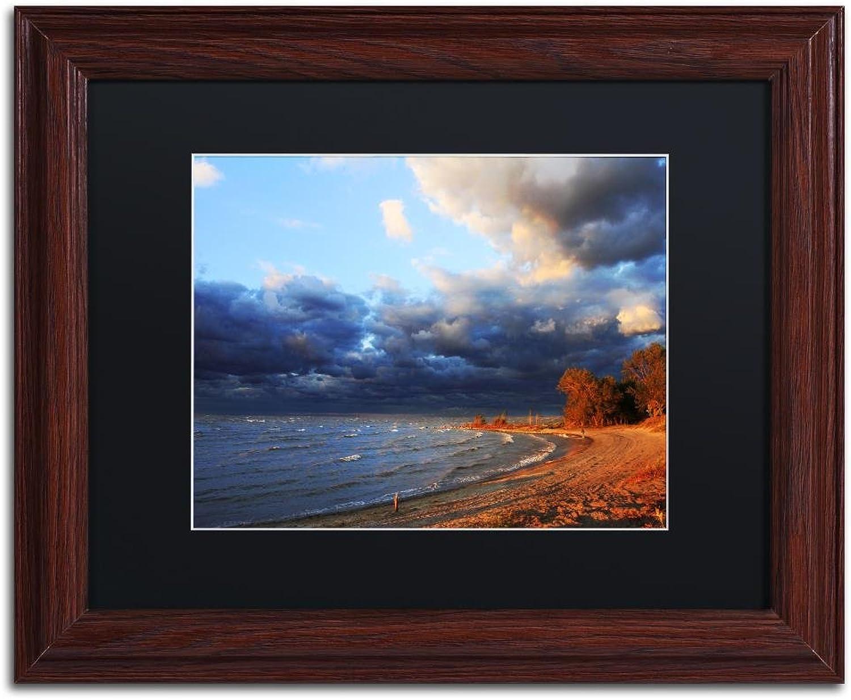 Trademark Fine Art Lake Erie Autumn by Jason Shaffer, Black Matte, Wood Frame, 11  X 14