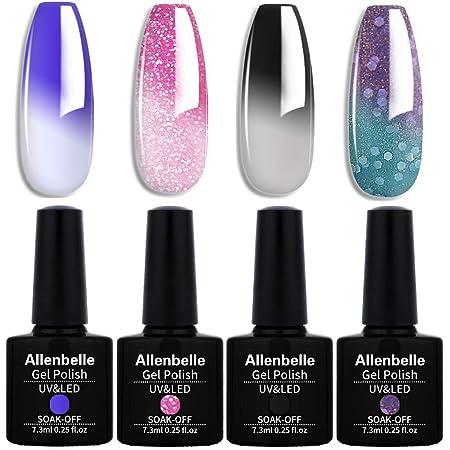Allenbelle Smalto Semipermanente Camaleonte Nail Polish UV LED Gel Unghie (Kit di 4 pcs 7.3ML/pc) 053